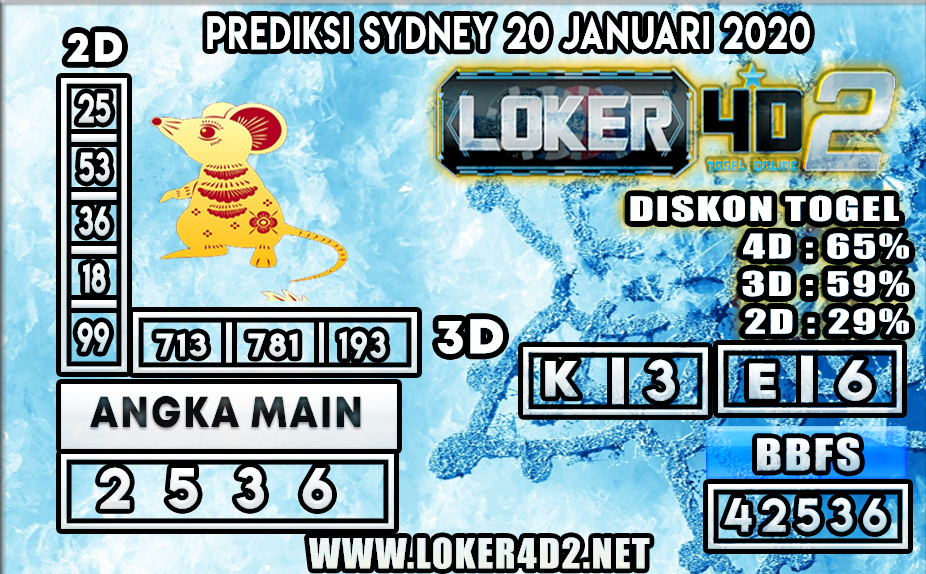 PREDIKSI TOGEL SYDNEY LOKER4D2 20 JANUARI 2020