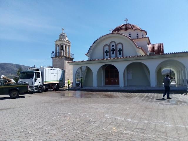 Δήμος Ναυπλιέων: Καθαριότητα και πλύσιμο δρόμων και πλατειών στην Τοπική Κοινότητα Μάνεση