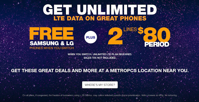 MetroPCS Two Lines of Unlimited for $80