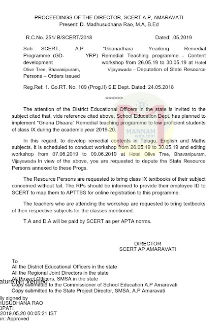 Gnannadhara Year long Remedial teaching programme - content developement workshop _ instructions and Subject wise RPs (teachers) list ,Rc.251