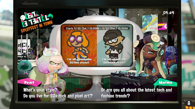 Splatoon 2 Splatfest Retro vs. Modern announcement news style