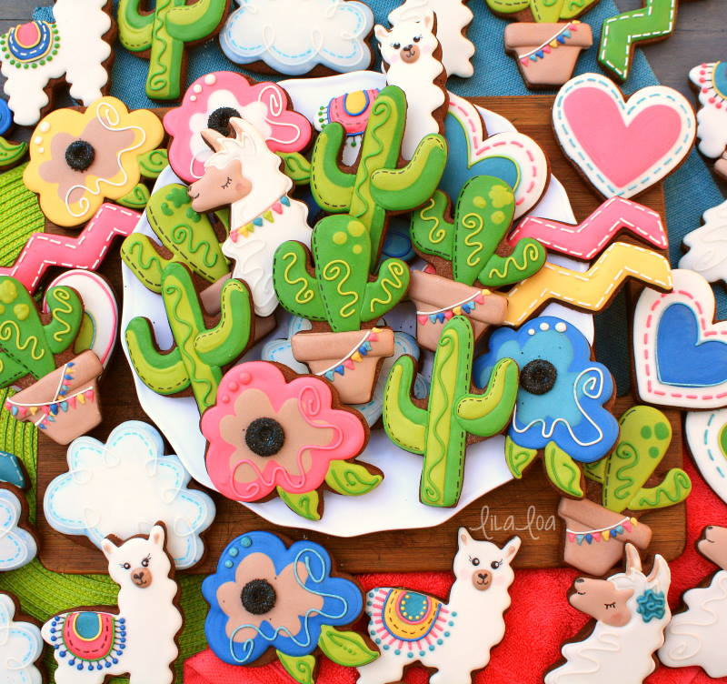 Brightly colored Southwest and fiesta decorated chocolate sugar cookies