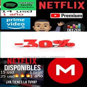 cuentas premiun netflix, spotify , prime video ,youtube premiun ,mega premiun , deezer