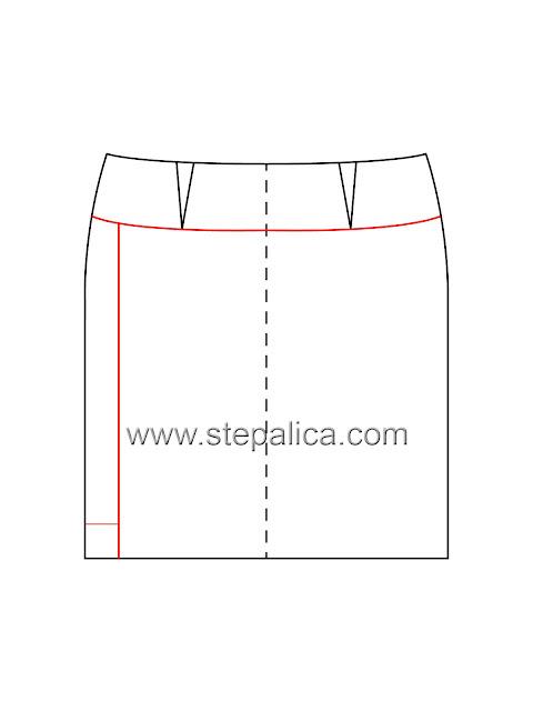 modelovanje suknje sa fals preklopom