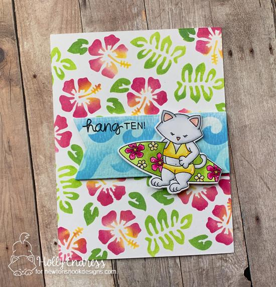 Cat with Surfboard Beach Card by Holly Endress | Newton's Perfect Wave Stamp Set, Waves & Splashes Edge Stencil, and Hibiscus Stencil Set by Newton's Nook Designs #newtonsnook #handmade