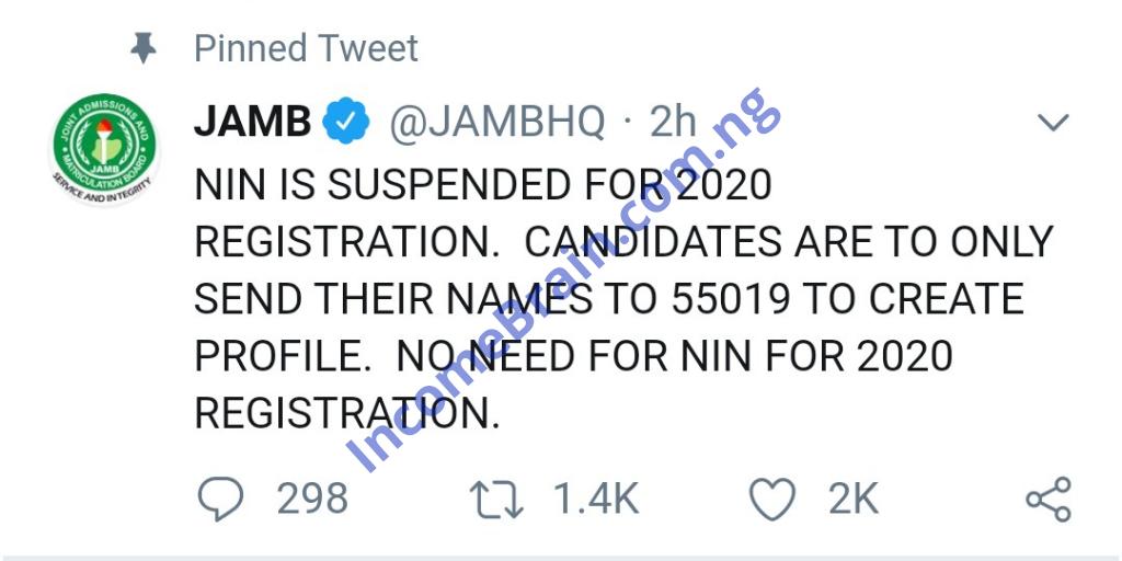JAMB Suspend NIN 2020