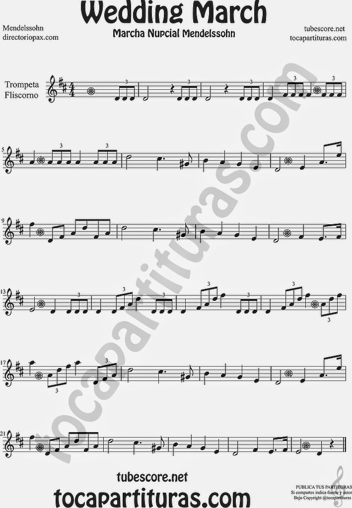 Marcha Nupcial Partitura de Trompeta y Fliscorno Sheet Music for Trumpet and Flugelhorn Music Scores Wedding March by Mendelssohn