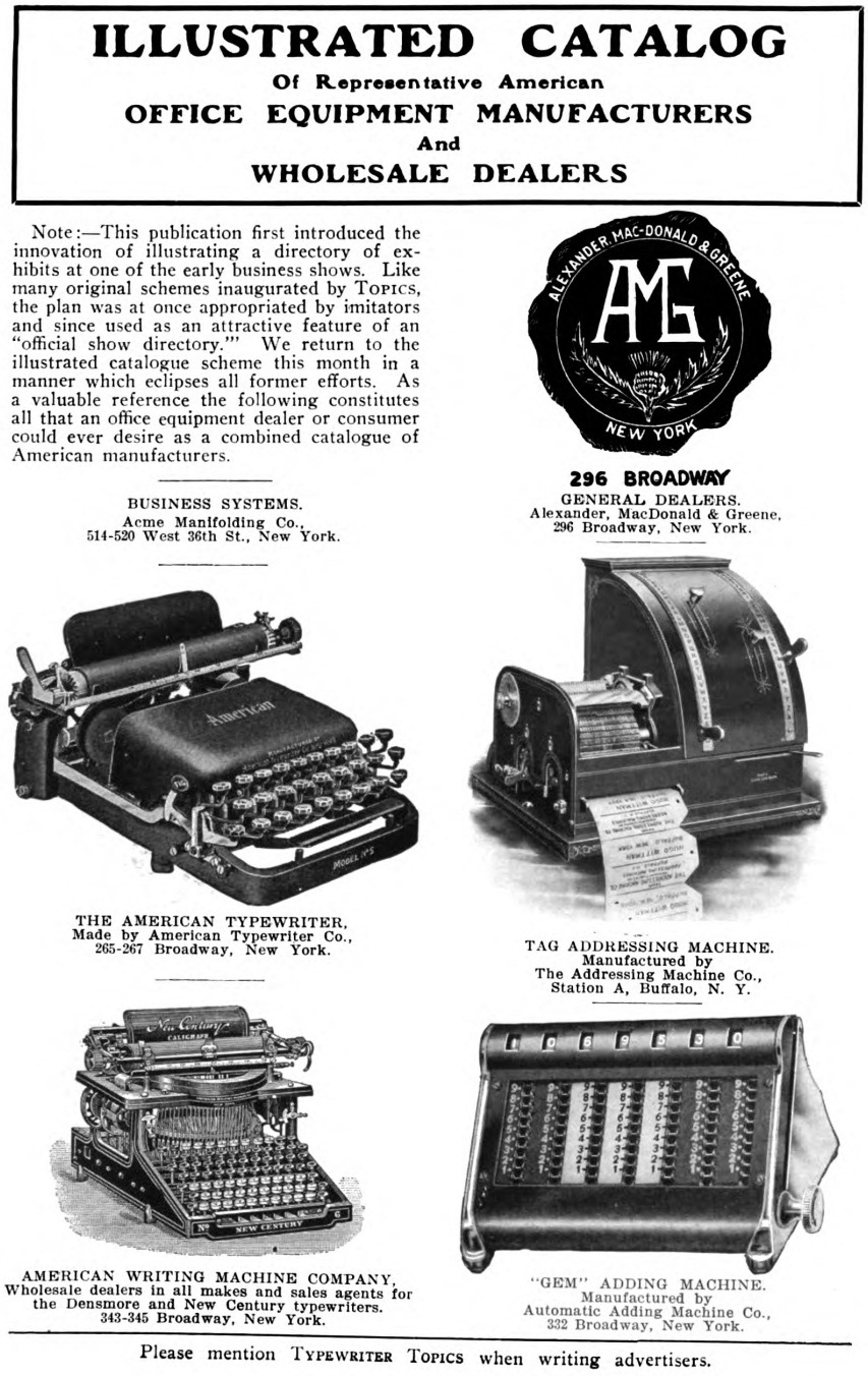 oz.Typewriter: Typewriter Catalog, 1907