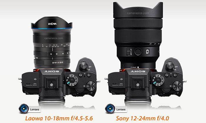 Сравнение габаритов объектива Laowa 10-18mm f/4.5-5.6 FE и Sony 12-24mm f/4