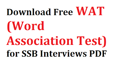 Download Free WAT (Word Association Test) for SSB Interviews PDF