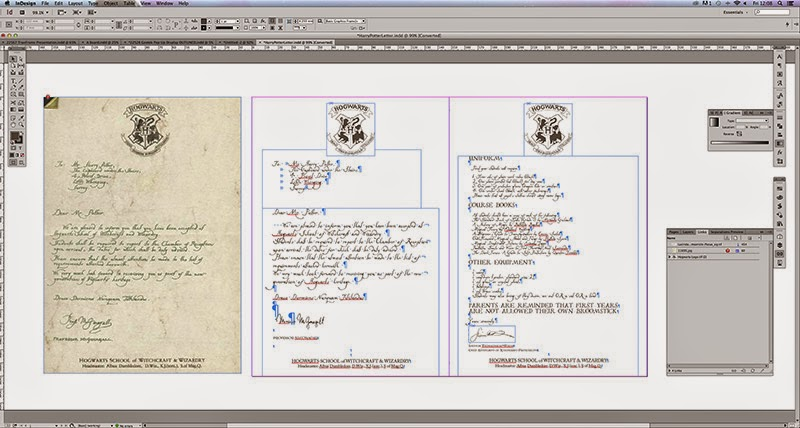Layoung out the Hogwarts Acceptance Letter in InDesign