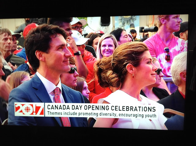 Screenshot CBC coverage Canada 150, Ottawa - PM Justin Trudeau and wife, Sophie