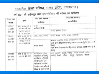 UP Board Class 10 Time Table 2021 (Released): Check Date Sheet & Time Table Here