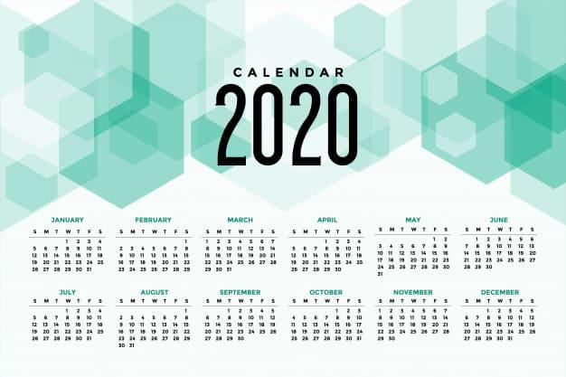 Calendario editable para imprimir 2020