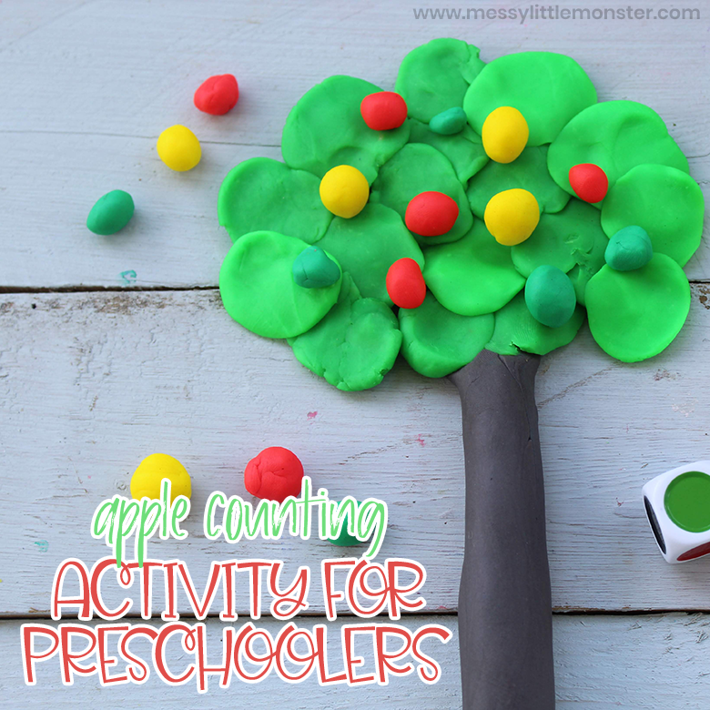 apple theme counting activity for preschoolers