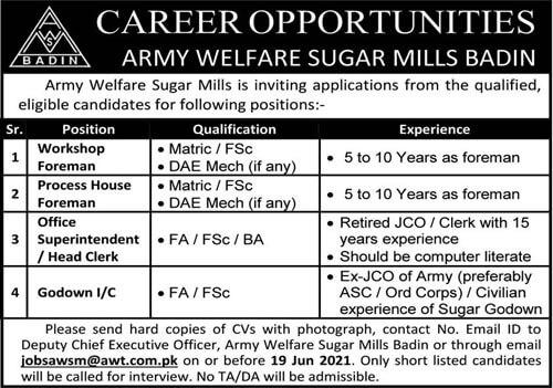 Pakistan Army Welfare Sugar Mills Badin Jobs 2021