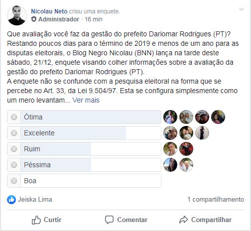 Blog Negro Nicolau lança enquete sobre avaliação da gestão do prefeito de Altaneira
