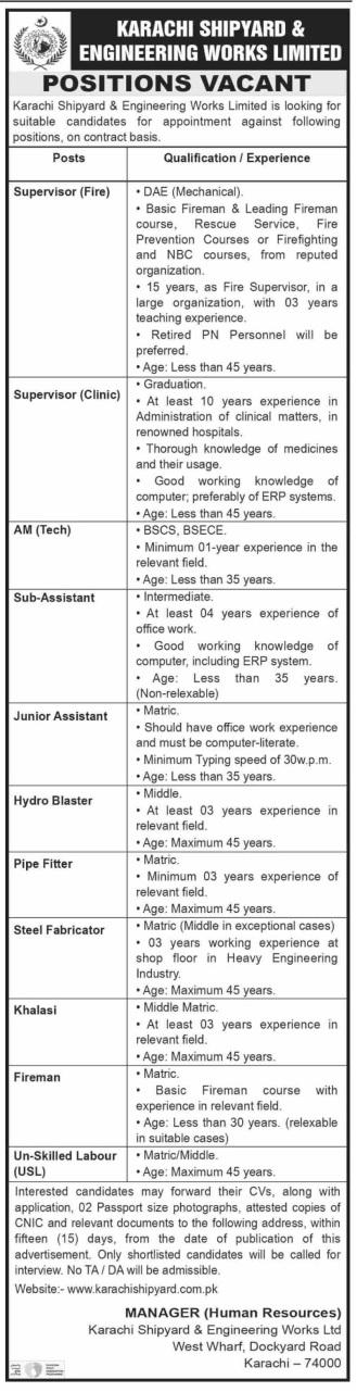 Karachi Shipyard & Engineering Works Ltd Jobs 2020
