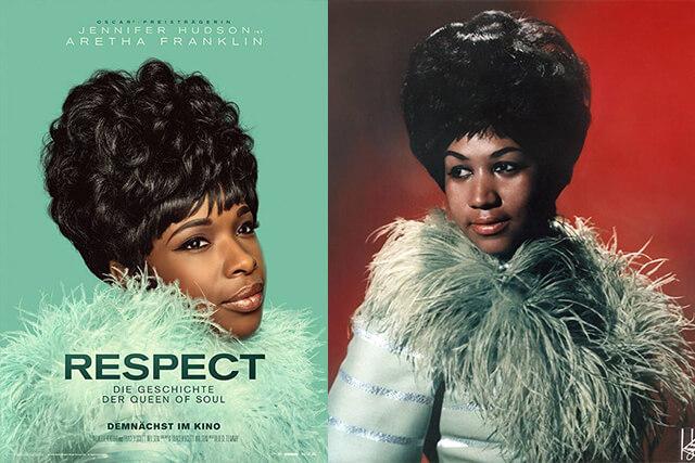 poster do filme respect com a foto de jennifer hudson caracterizada como aretha frankin
