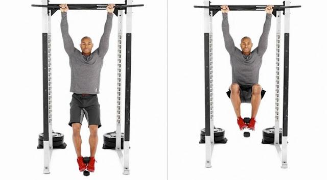 Abdominales y ejercicios básicos - Manos en la barra y pies con pesas