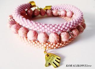 bransoletka z koralików ręcznie robiona,sznur szydełkowo koralikowy