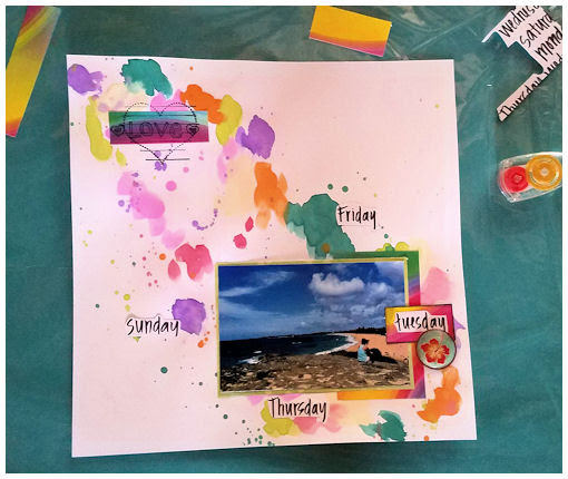 Watercolor and Scrapbook Layout