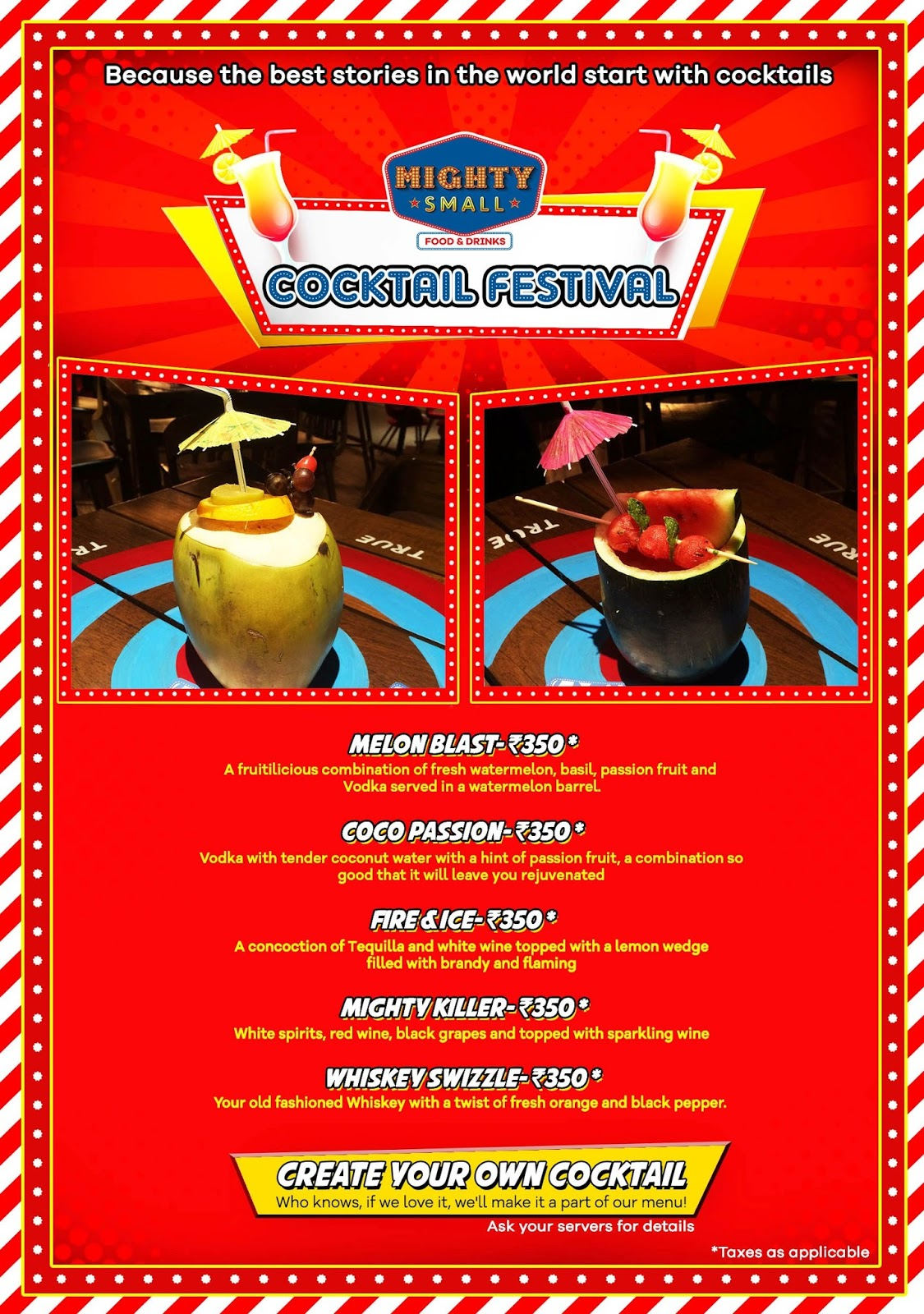 Cocktail Festival Menu, Mighty Small at Smaaash, Bangalore