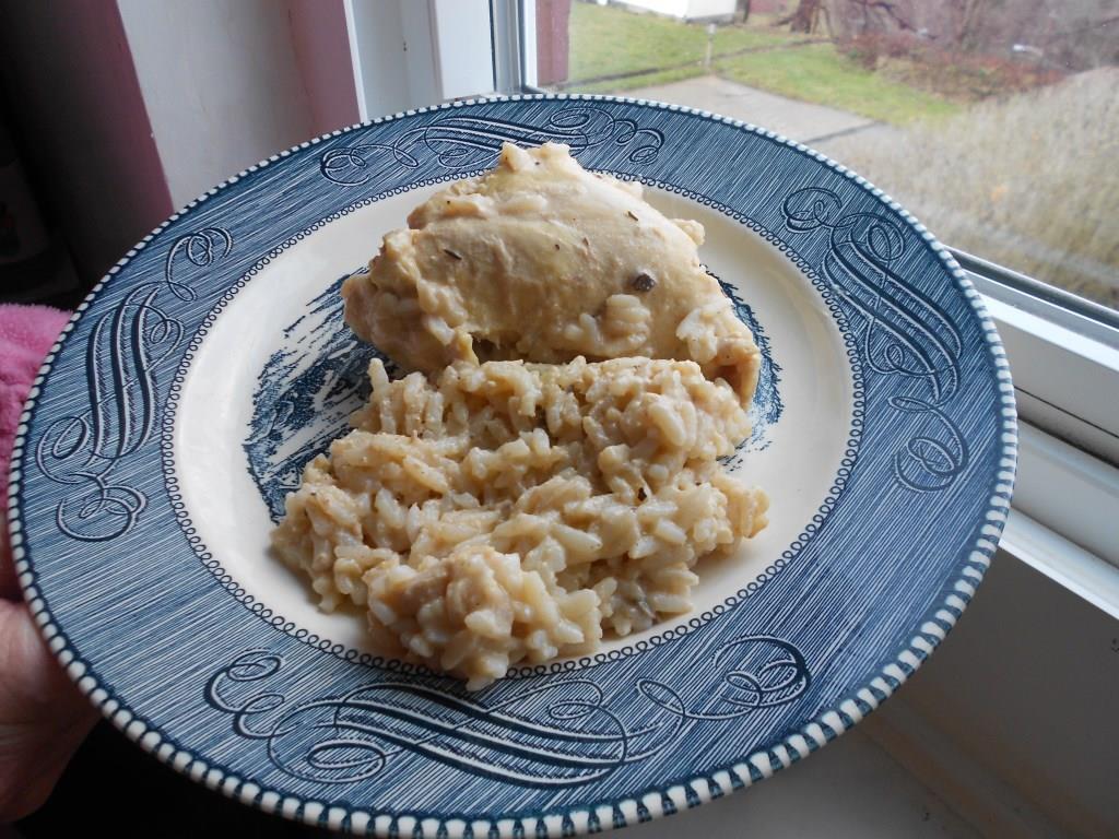 Plate of Crock Pot Chicken-Rice Dinner