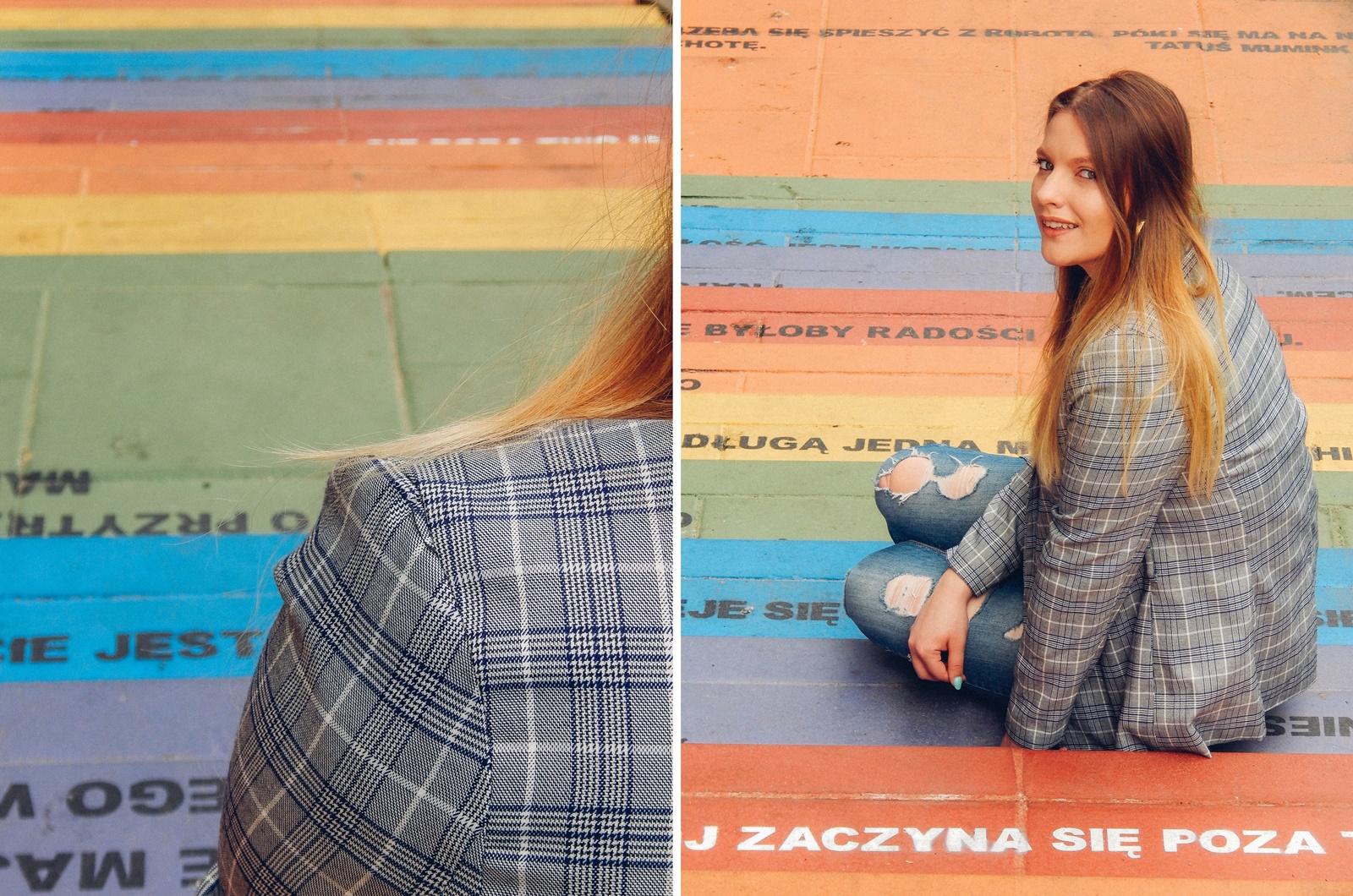 8a nakd zniżka outfit moda blog modowy jak nosić marynarkę w kratkę tshirt z kaktusem jak nosić podarte jeansy vansy moda streetwear style fashion outfit blog lifestyle łódź