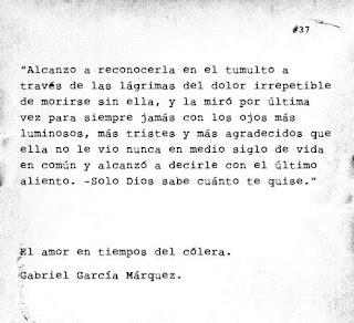 """Frase del libro """"El amor en los tiempos del cólera"""" de Gabriel García Márquez"""