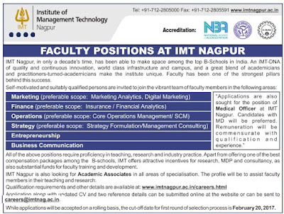 Faculty vacancy in IMT Nagpur