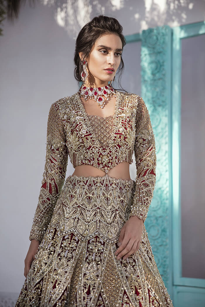 Suffuse by Sana Yasir Red Lehenga for Pakistani Brides