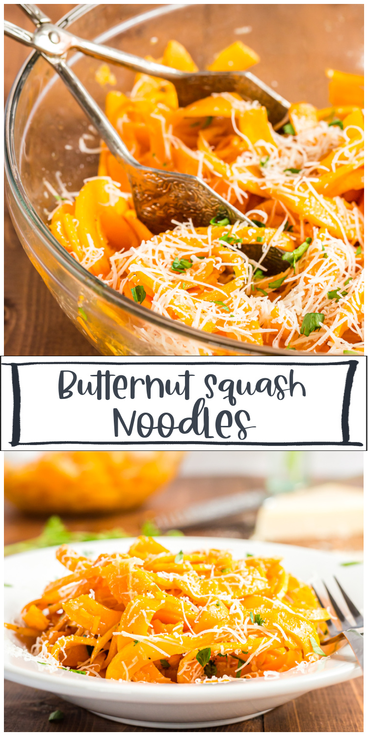 Butternut Squash Noodles - These roasted Butternut Squash Noodles are topped with a nutty browned butter, Parmesan cheese, and a sprinkling of fresh chopped parsley, for a delicious dish that cooks in 10 minutes, or less, and uses very few ingredients. #sidedish #thanksgiving #christmas #lowcarb #keto #glutenfree #pasta #noodles #recipe