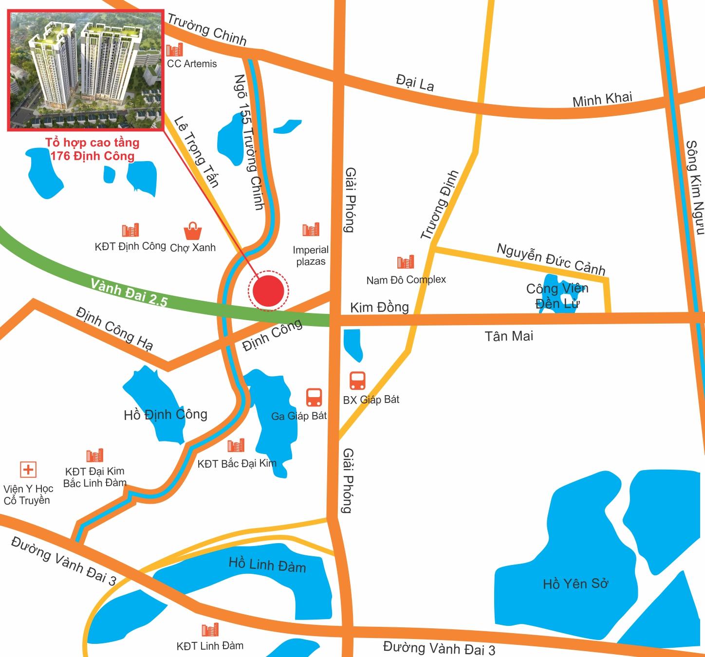 Vị trí dự án Sky Central Định Công