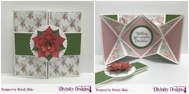 Stamp/Die Duost: Joyful Christmas, Custom Dies:  Pop-Out Card with Layers, Belly Band, Scalloped Circles, Peaceful Poinsettias, Paper Collection: Christmas Collection 2018