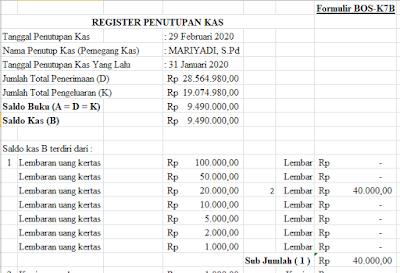 Contoh Format Register Penutupan Kas (Formulir BOS-K7B) dan Format Berita Acara Pemeriksaan Kas (Formulir BOS-K7C)