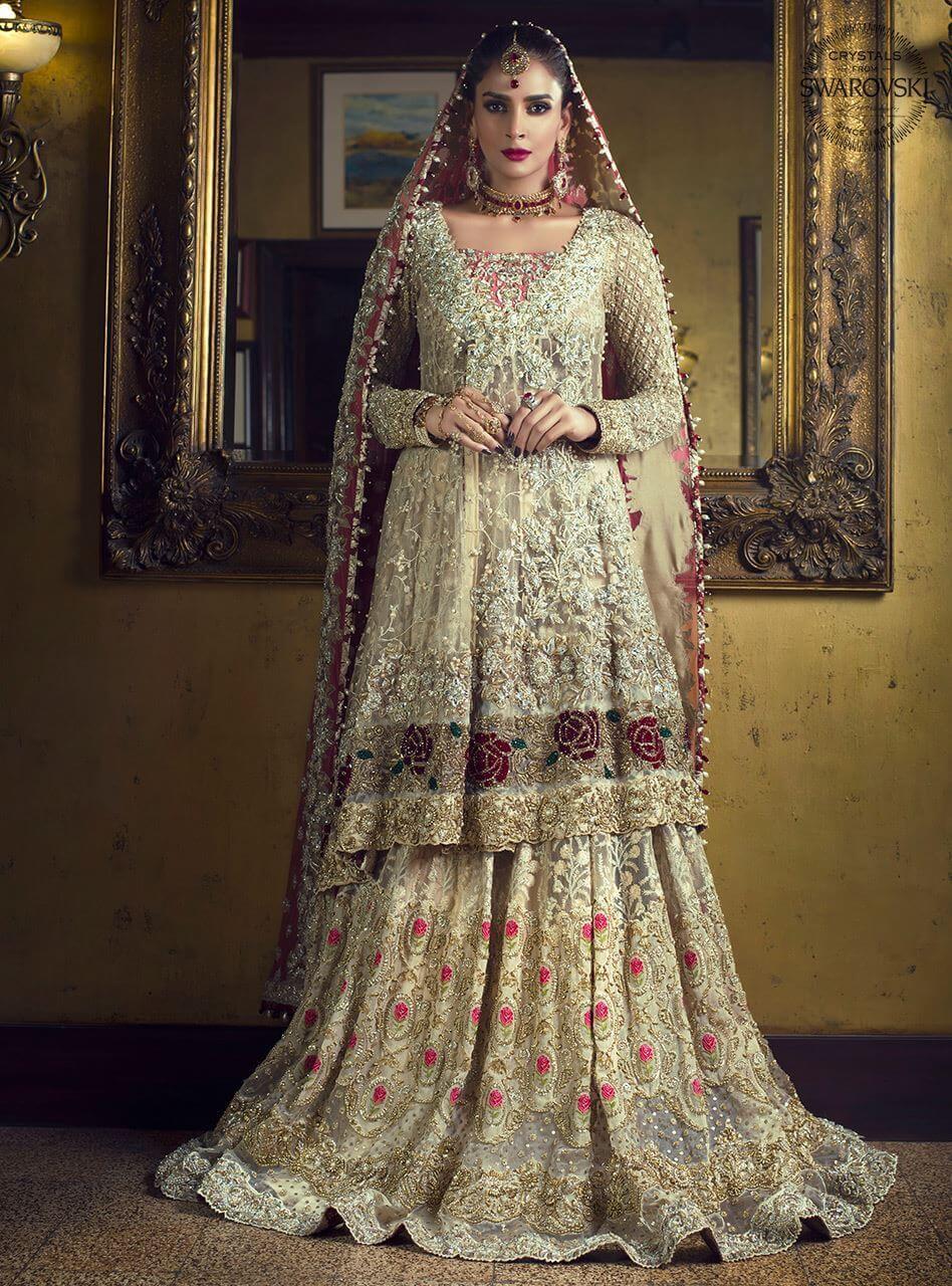 Zainab Chottani Bridal Gold Angrakha with Melon Pink Dupatta