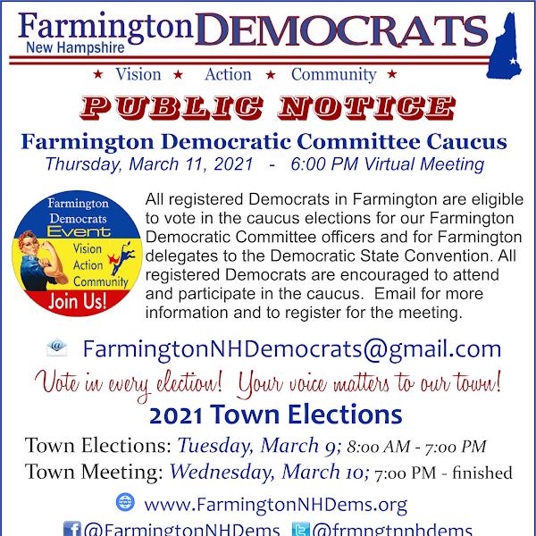 Farmington Democrats Invite All Registered Democrats in Farmington to Caucus
