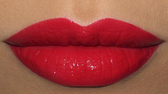 NARS Velvet Lip Glide Liquid Lipstick Swatch Mineshaft Bright Warm Red
