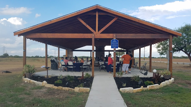 Group gathering at the Tejas Pavilion