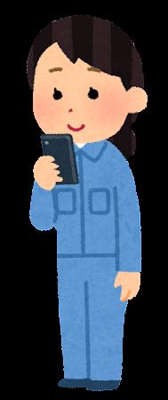 スマートフォンを使う作業員のイラスト(女性)