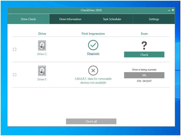CheckDrive 2020 :  Ελέγξτε και επιδιορθώστε σφάλματα σε HD και SSDs
