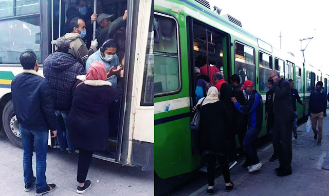 في أول أيام الحجر الموجه : إكتضاض في وسائل النقل العمومي (صور)