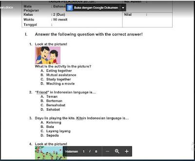 Soal PAS Bahasa Inggris Kelas 2 Kurikulum 2013 SD/MI