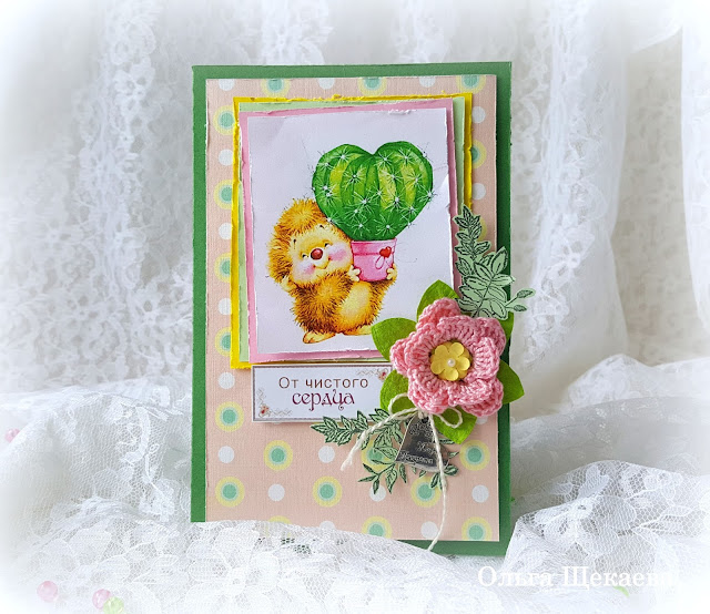 открытка, детская, цветы, кактус, ёжик, с днём рождения, с праздником