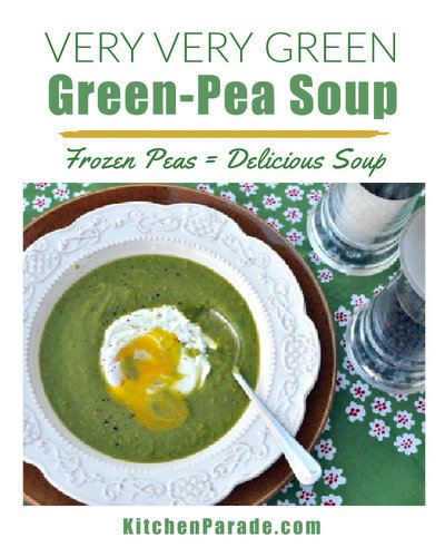 Very Very Green Green-Pea Soup ♥ KitchenParade.com, quick and easy with frozen peas. Beautiful color.