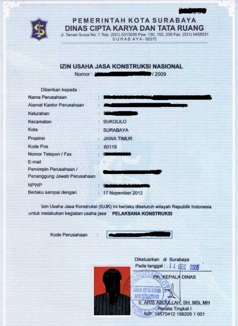 Contoh IUJK Surabaya