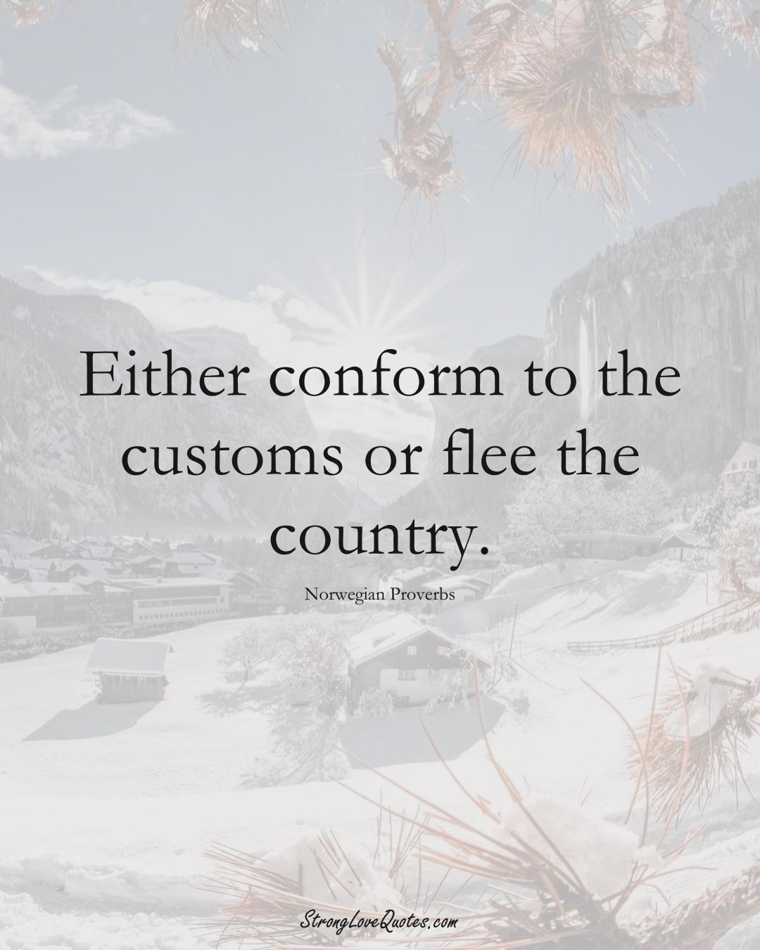 Either conform to the customs or flee the country. (Norwegian Sayings);  #EuropeanSayings