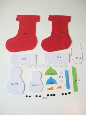 piezas y medidas para hacer la botita navideña con muñecos de nieve